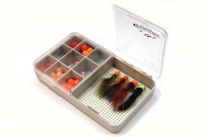 Medium tan split-lid Nubby Tack fly box