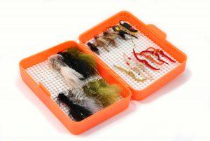 Small flo-orange double Nubby Tack fly box